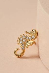 ANTHROPOLOGIE Seahorse Metallic Stud Earrings / sea inspired jewellery / seahorses