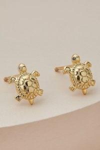 ANTHROPOLOGIE Turtle Metallic Stud Earrings / ocean inspired jewellery / turtles