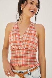 Pilcro Jessie Halter Top Orange Motif / check print halterneck tops / fitted smocked waist