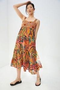 Farm Rio Crochet Maxi Dress   knitted bodice summer dresses   70s vintage inspired fashion