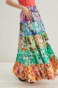 Geisha Designs Tiered Maxi Skirt | multi floral print summer skirts