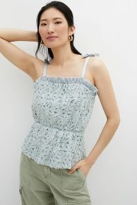Sunday in Brooklyn Textured Peplum Tank | pale-blue fitted waist frill trim camisole