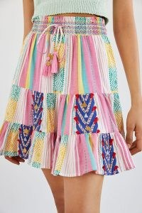 Verb by Pallavi Singhee Page Tiered Mini Skirt Pink Combo | multi print summer skirts