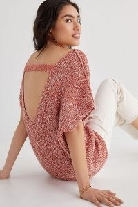 Pilcro Knitted Tunic Tee Red | slouchy open back jumpers