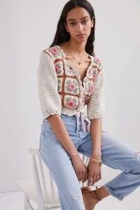 Tach Floral Crochet Cardigan | retro cardigans | vintage style knitwear