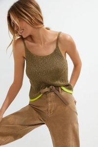 Pilcro Easy Knitted Tank | green thin strap tanks | strappy knits
