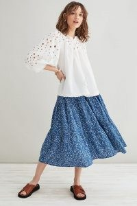 Lolly's Laundry Morning Midi Skirt | blue flared ditsy floral summer skirts
