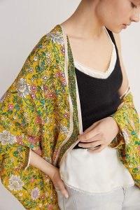 Anthropologie Brianna Floral Cocoon Kimono | yellow kimonos | lightweight jackets