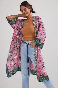 Anthropologie Lyla Floral Vine Kimono Pink | flowy fabric jackets | floaty kimonos