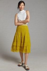 Maeve Tulle Midi Skirt Yellow Motif ~ tiered ruffle detail skirts