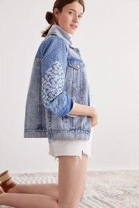 Avec Les Filles Patchwork Denim Jacket ~ light blue casual jackets with floral patches