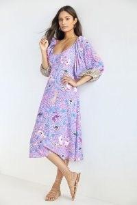 Plenty by Tracy Reese Puff-Sleeve Midi Dress Purple Motif | balloon sleeve animal print dresses