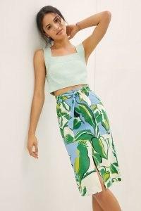 Maeve Souvenir Midi Skirt Green Motif | tropical bird print summer skirts with front split