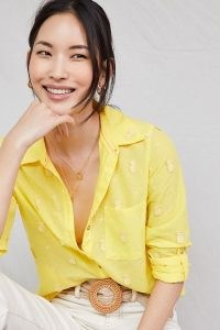 Maeve Classic Embroidered Buttondown in Yellow / pineapple fruit applique shirt