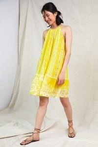 Forever That Girl Halter Tunic Mini Dress / yellow halterneck summer dresses