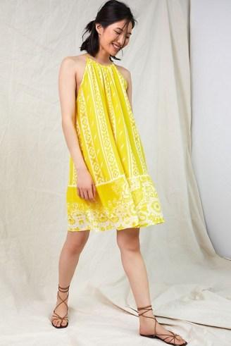 Forever That Girl Halter Tunic Mini Dress / yellow halterneck summer dresses - flipped