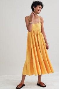 Kirei Textured Swing Midi Dress / orange strappy tiered sundress