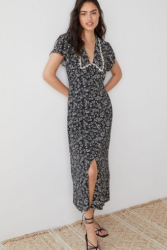 ANTHROPOLOGIE Kat Collared Floral Maxi Dress / black and white dresses with lace trim oversized collar - flipped