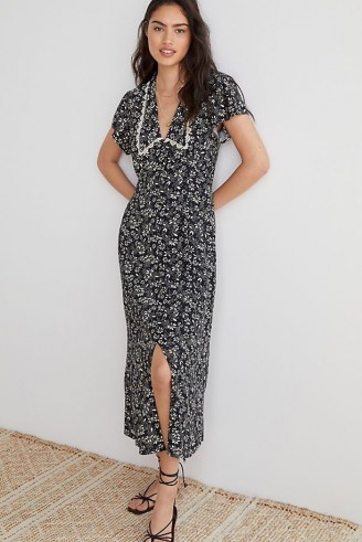 ANTHROPOLOGIE Kat Collared Floral Maxi Dress / black and white dresses with lace trim oversized collar