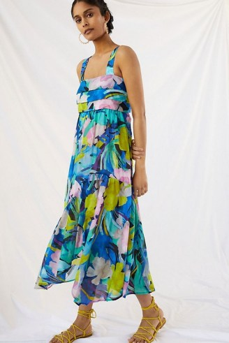 ANTHROPOLOGIE Sunny Print Maxi Dress / sleeveless blue floral pleated bodice dresses - flipped