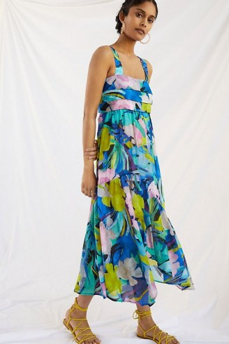 ANTHROPOLOGIE Sunny Print Maxi Dress / sleeveless blue floral pleated bodice dresses