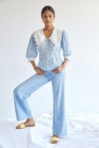 Plenty by Tracy Reese Embroidered Plaid Blouse / blue check oversized collar blouses