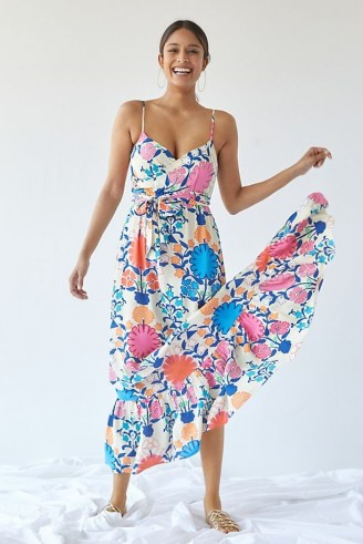 Plenty by Tracy Reese Poppies Maxi Dress / strappy empire tie waist floral dresses - flipped