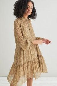 Second Female Firenze Mini Dress / floaty tiered hem leopard print dresses