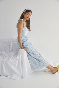 Plenty by Tracy Reese Plaid Scalloped Jumpsuit / checked skinny shoulder strap jumpsuits with wide leg and smocked bodice