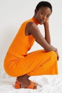 ANTHROPOLOGIE Emily Dolman-Sleeved Knit Skirt Set / bright orange fashion sets / elegant co-ords
