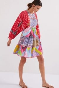 Let Me Be Patchwork Tiered Mini Dress / multicoloured patch print dresses