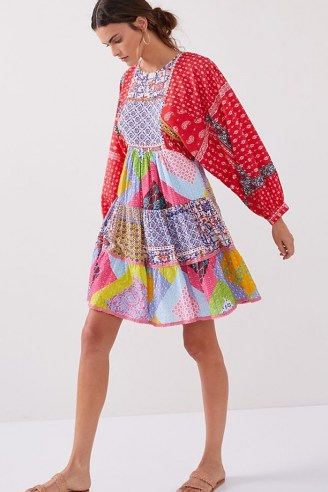 Let Me Be Patchwork Tiered Mini Dress / multicoloured patch print dresses - flipped