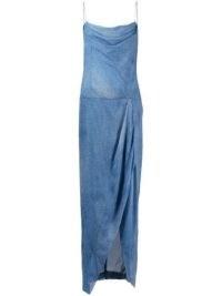 Balmain long denim dress | spaghetti strap cowl neck dresses