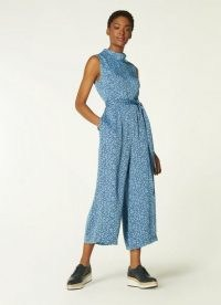 L.K. BENNETT BANCROFT BLUE ROPE PRINT JUMPSUIT ~ This chic cropped wide leg all-in-one would be a gorgeous addition to any warm weather wardrobe. It's sleeveless, with a high neck and a feminine tie waist. Created in a flowy lightweight silky fabric, all you have to do is slip it on and add a pair of your favourite ballet flats and crossbody bag for an effortlessly stylish easy breezy summer outfit.