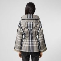 Burberry Check Lightweight Hooded Jacket ~ chic drawcord waist zip front spring jackets