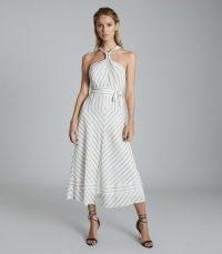 Reiss BEA STRIPED HALTERNECK MIDI DRESS WHITE/GREY – glamorous halter dresses – summer glamour