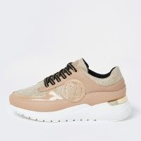 RIVER ISLAND Beige chunky branded lace up trainers / textured chunky sole trainer