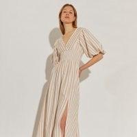 River Island Beige short puff sleeve stripe maxi dress | double front split summer dresses