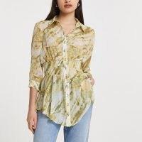 RIVER ISLAND Beige tie dye print shirred waist shirt