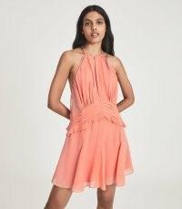 REISS BELLE CHIFFON RUFFLE MINI DRESS PINK ~ feminine summer event dresses