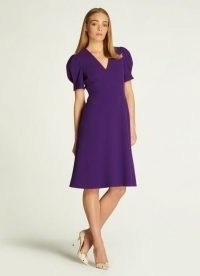 L.K. Bennett BETTINA PURPLE CREPE FIT AND FLARE DRESS | puff sleeve flared hem dresses