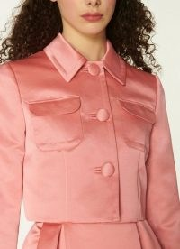 L.K. BENNETT BIARRITZ PINK SATIN CROPPED JACKET / luxurious look jackets