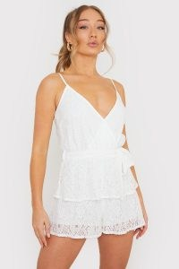 BILLIE FAIERS WHITE WRAP LACE PLAYSUIT / strappy plunge front playsuits / celebrity inspired fashion