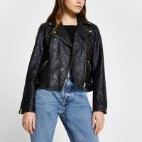 River Island Black embossed biker jacket – classic zip detail jackets