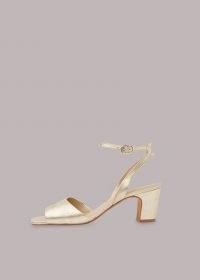 WHISTLES EMERSON BLOCK HEEL SANDAL ~ metallic gold ankle strap sandals