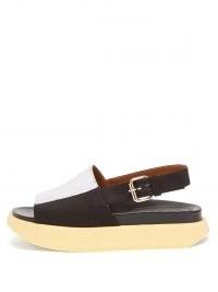 MARNI Fussbett painted cotton-faille flatform sandals – slingback flatforms