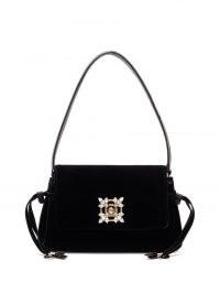 ROGER VIVIER Miss Vivier crystal-embellished black-velvet bag | luxe bags