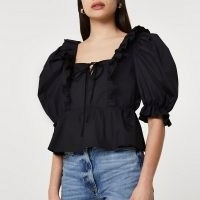 River Island Black poplin frill hem puff sleeve blouse top – square neck balloon sleeve blouses
