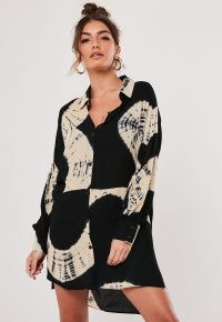 MISSGUIDED black tie dye oversized dip back shirt dress