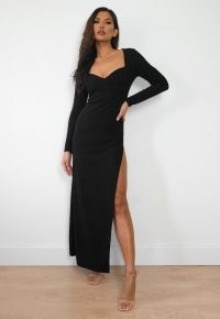 Missguided black v detail long sleeve maxi dress | side thigh high split evening dresses